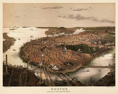 Boston Drawing - Antique Map Of Boston Massachusetts By John Bachmann - Circa 1877 by Blue Monocle