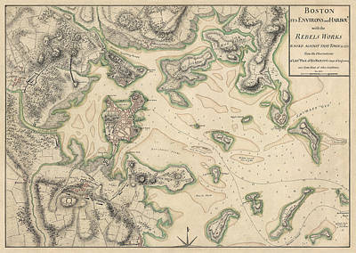 Drawing - Antique Map Of Boston Massachusetts By Thomas Hyde Page - Circa 1775 by Blue Monocle