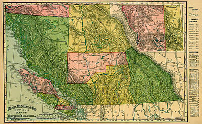Antique Map Of British Columbia 1896 Art Print by Mountain Dreams
