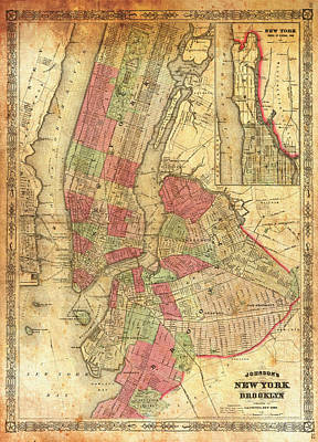 Harbor Drawing - Antique Map Of Brooklyn And New York City 1866 by Mountain Dreams
