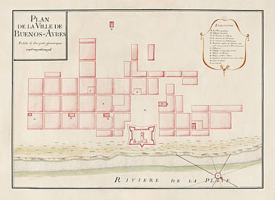 Buenos Aires Drawing - Antique Map Of Buenos Aires Argentina By Jacques Nicolas Bellin - Circa 1739 by Blue Monocle