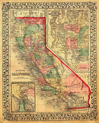 Featured Drawings Drawing - Antique Map Of California 1867 by Mountain Dreams