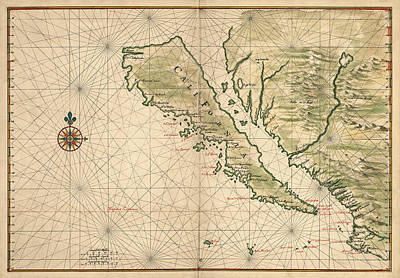 Charts Drawing - Antique Map Of California As An Island By Joan Vinckeboons - 1650 by Blue Monocle