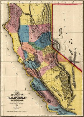 Map Of California Drawing - Antique Map Of California By Charles Drayton Gibbes - 1851 by Blue Monocle
