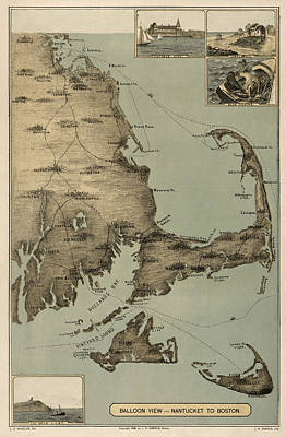 Antique Map Drawing - Antique Map Of Cape Cod Massachusetts By J. H. Wheeler - 1885 by Blue Monocle