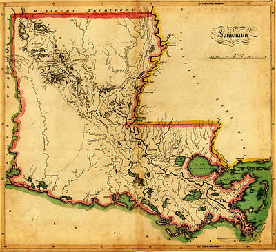Antique Map Of  Careys Map Of Louisiana In 1814 Art Print by Celestial Images