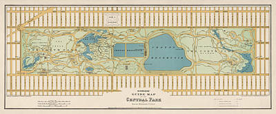 City Art Drawing - Antique Map Of Central Park New York City By Oscar Hinrichs - 1875 by Blue Monocle