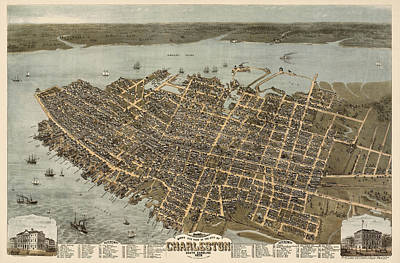 Charleston Drawing - Antique Map Of Charleston South Carolina By C. N. Drie - 1872 by Blue Monocle