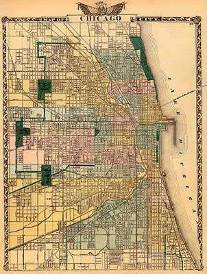 Grant Park Drawing - Antique Map Of Chicago 1876 by Mountain Dreams