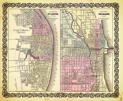 St. Louis Drawing - Antique Map Of Chicago And St Louis 1855 by Mountain Dreams