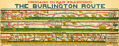 Antique Map Painting - Antique Map Of  Chicago To San Francisco by Celestial Images