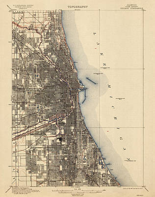 Antique Map Drawing - Antique Map Of Chicago - Usgs Topographic Map - 1901 by Blue Monocle