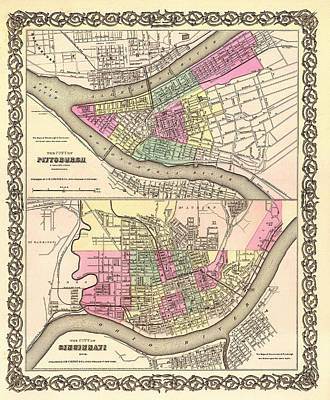 Pennsylvania Drawing - Antique Map Of Cincinnati And Pittsburgh 1855 by Mountain Dreams