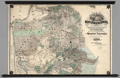 Cartography Painting - Antique Map Of City And County Of San Francisco by Celestial Images
