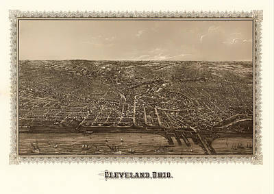 Beautiful. Pretty Drawing - Antique Map Of Cleveland Ohio 1887 by Mountain Dreams