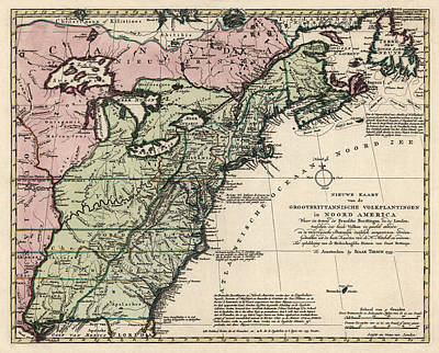 Antique Map Of Colonial America By Isaak Tirion - 1755 Art Print