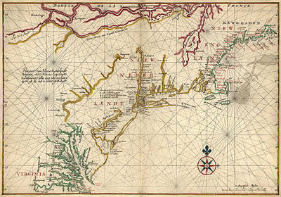 Drawing - Antique Map Of Colonial America By Joan Vinckeboons - Circa 1639 by Blue Monocle