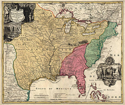 Baptist Drawing - Antique Map Of Colonial America By Johann Baptist Homann - Circa 1763 by Blue Monocle