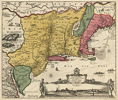 Netherlands Map Drawing - Antique Map Of Colonial America By Nicolaes Visscher - 1685 by Blue Monocle