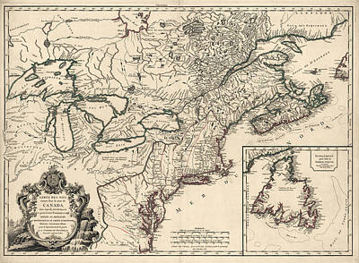 Lake Drawing - Antique Map Of Colonial Canada And America By Didier Robert De Vaugondy - 1753 by Blue Monocle