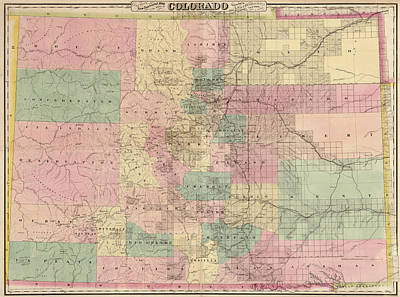 Art Print featuring the drawing Antique Map Of Colorado By G.w. And C.b. Colton And Co. - 1878 by Blue Monocle