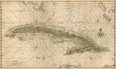 Caribbean Drawing - Antique Map Of Cuba By Joan Vinckeboons - Circa 1639 by Blue Monocle