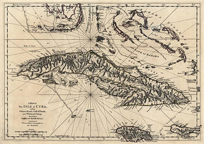 Drawing - Antique Map Of Cuba By Thomas Jefferys - 1768 by Blue Monocle