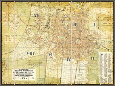 Cartography Painting - Antique Map Of Del Plano Oficial De La Ciudad De Mexico by Celestial Images