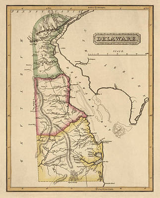 Antique Map Of Delaware By Fielding Lucas - Circa 1817 Print by Blue Monocle