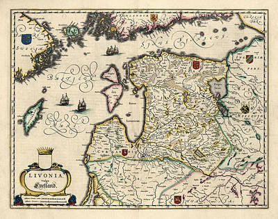 Antique Map Of Estonia Latvia And Lithuania By Willem Janszoon Blaeu - 1647 Print by Blue Monocle