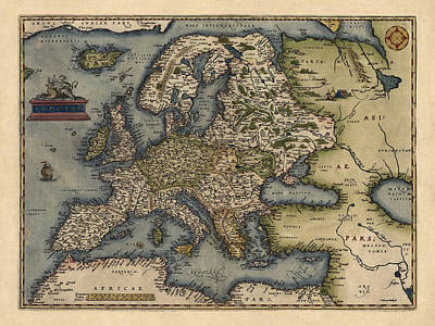 Antique Drawing - Antique Map Of Europe By Abraham Ortelius - 1570 by Blue Monocle