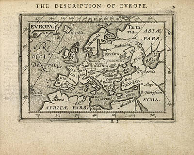 Drawing - Antique Map Of Europe By Abraham Ortelius - 1603 by Blue Monocle