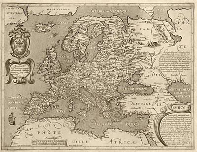 Drawing - Antique Map Of Europe By Arnoldo Di Arnoldi - Circa 1600 by Blue Monocle