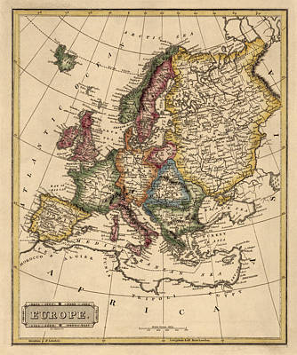 Drawing - Antique Map Of Europe By Fielding Lucas - Circa 1817 by Blue Monocle