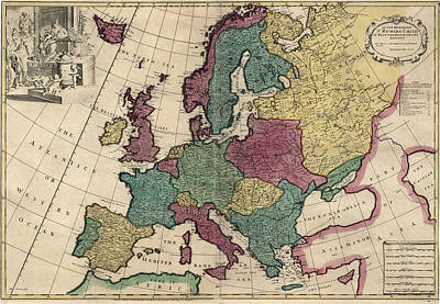 Drawing - Antique Map Of Europe By John Senex - Circa 1719 by Blue Monocle