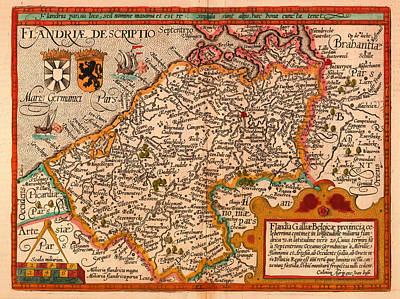 Belgium Drawing - Antique Map Of Flanders by Mountain Dreams