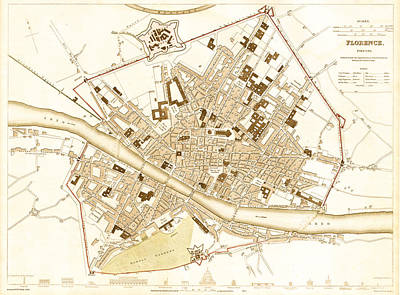 Featured Drawings Drawing - Antique Map Of Florence Italy 1835 by Mountain Dreams