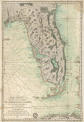Drawing - Antique Map Of Florida - 1780 by Blue Monocle