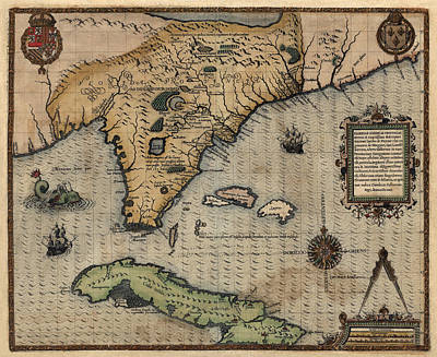 Drawing - Antique Map Of Florida And The Southeast By Jacques Le Moyne De Morgues - 1591 by Blue Monocle