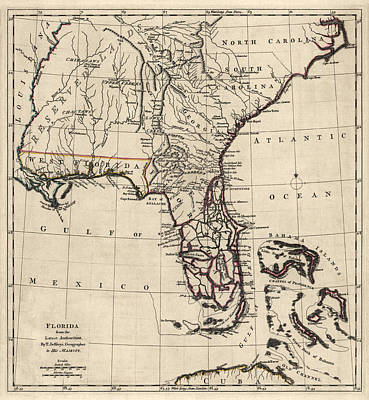 Mississippi Map Drawing - Antique Map Of Florida And The Southeast By Thomas Jefferys - 1768 by Blue Monocle