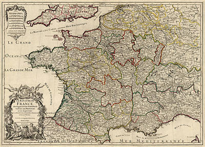 Antique Map Of France By Alexis Hubert Jaillot - 1724 Art Print