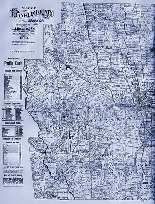 Columbus Drawing - Antique Map Of Franklin County Ohio 1883 by Mountain Dreams