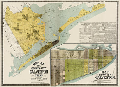 City Art Drawing - Antique Map Of Galveston Texas By The Island City Abstract And Loan Co. - 1891 by Blue Monocle