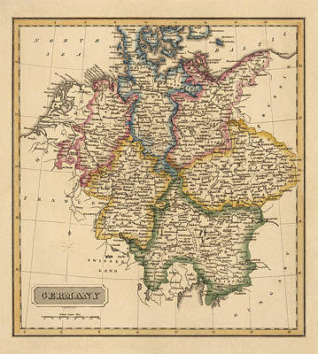 Antique Map Of Germany By Fielding Lucas - Circa 1817 Art Print by Blue Monocle