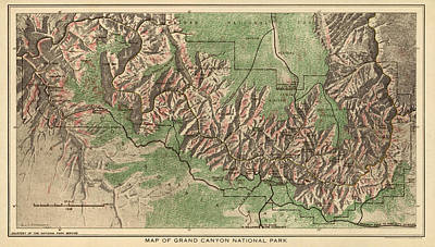 University Of Arizona Drawing - Antique Map Of Grand Canyon National Park By The National Park Service - 1926 by Blue Monocle
