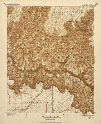 Grand Canyon Drawing - Antique Map Of Grand Canyon National Park - Usgs Topographic Map - 1903 by Blue Monocle