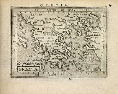 Drawing - Antique Map Of Greece By Abraham Ortelius - 1603 by Blue Monocle