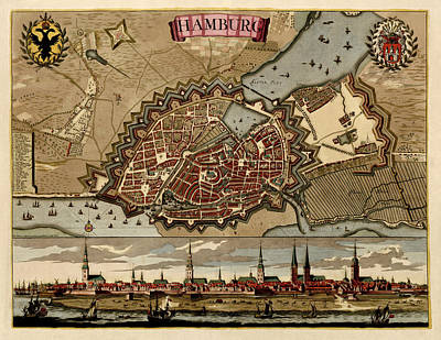 Hamburg Drawing - Antique Map Of Hamburg Germany By Pieter Schenk - Circa 1702 by Blue Monocle
