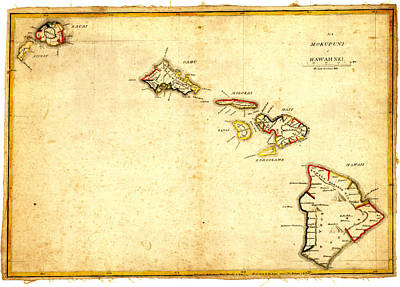 Cartography Painting - Antique Map Of Hawaii by Celestial Images