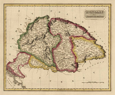 Old Drawing - Antique Map Of Hungary By Fielding Lucas - Circa 1817 by Blue Monocle